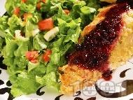 Панирано пилешко месо в корнфлейкс с боровинки